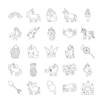 Conjunto de ícones de unicórnio de conto de fadas