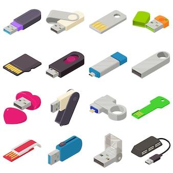 Conjunto de ícones de unidade flash usb. ilustração isométrica de 16 ícones de vetor usb flash drive para web