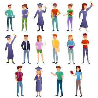 Conjunto de ícones de universidade, estilo cartoon