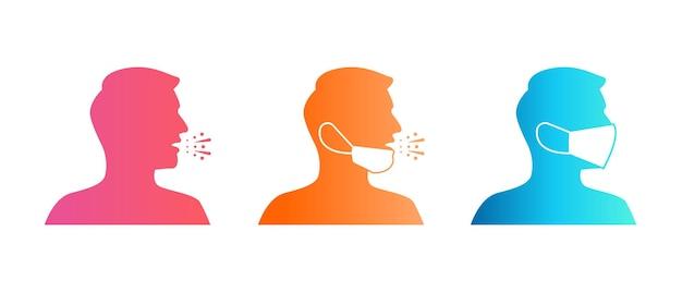 Conjunto de ícones de usar máscara facial e espirros, ilustração vetorial