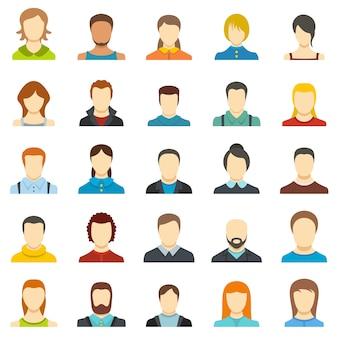 Conjunto de ícones de usuário de avatar isolado