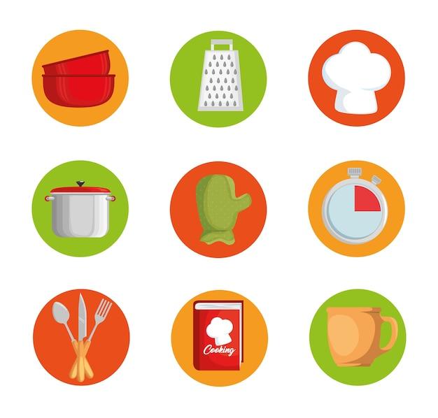 Conjunto de ícones de utensílios de cozinha vector design ilustração