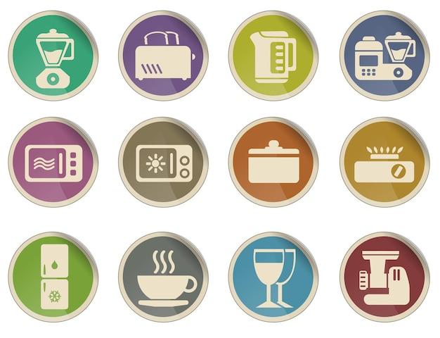Conjunto de ícones de utensílios de cozinha Vetor Premium