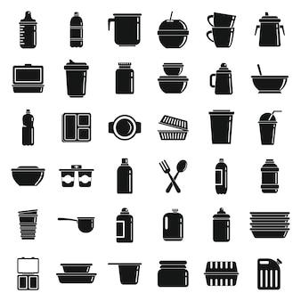 Conjunto de ícones de utensílios de mesa de plástico, estilo simples