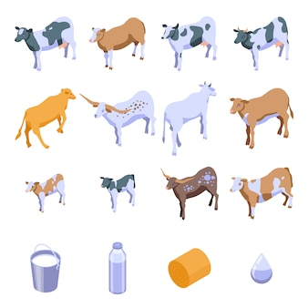 Conjunto de ícones de vaca, estilo isométrico