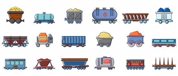 Conjunto de ícones de vagão. conjunto de desenhos animados de ícones de vetor de vagão conjunto isolado