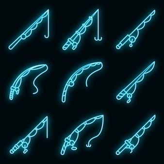 Conjunto de ícones de vara de pesca. conjunto de contorno de ícones de vetor de vara de pescar, cor de néon no preto