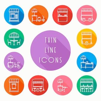 Conjunto de ícones de varejo de comida de rua