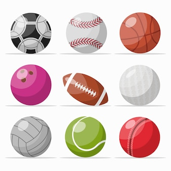 Conjunto de ícones de várias bolas de jogos
