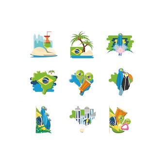 Conjunto de ícones de variedade brasil