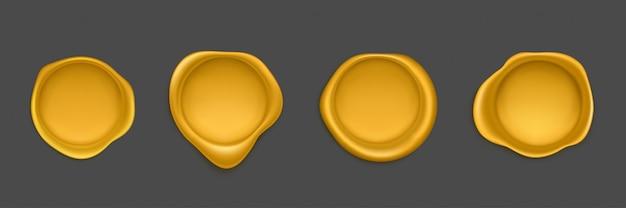 Conjunto de ícones de vedação de aprovação de selo de cera de ouro