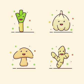 Conjunto de ícones de vegetais coleção alho-poró alho cogumelo gengibre mascote fofo rosto emoção feliz com a cor