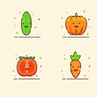 Conjunto de ícones de vegetais coleção pepino abóbora tomate cenoura mascote fofo rosto emoção feliz com a cor