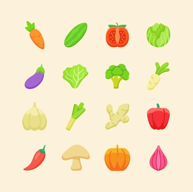 Conjunto de ícones de vegetais frescos orgânicos