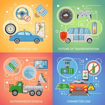 Conjunto de ícones de veículo 2 x 2 de carro autônomo sem motorista