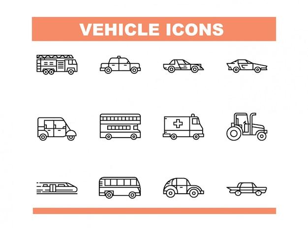 Conjunto de ícones de veículo em vetor de estilo de linha
