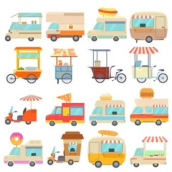 Conjunto de ícones de veículos de comida de rua