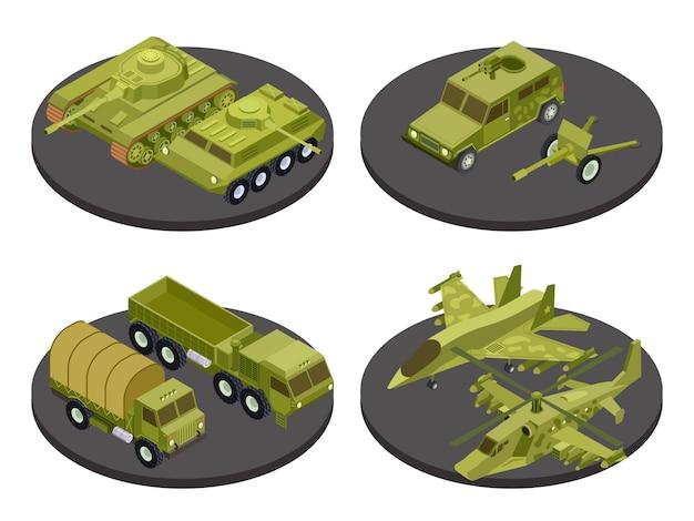 Conjunto de ícones de veículos militares com tanques de transporte de sistemas de mísseis e ilustração de manchetes de artilharia