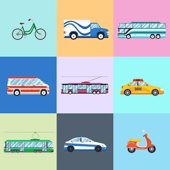 Conjunto de ícones de veículos urbanos da cidade. carro e ônibus elétrico, bicicleta e moto, ônibus e polícia