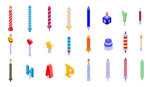 Conjunto de ícones de vela de aniversário, estilo isométrico