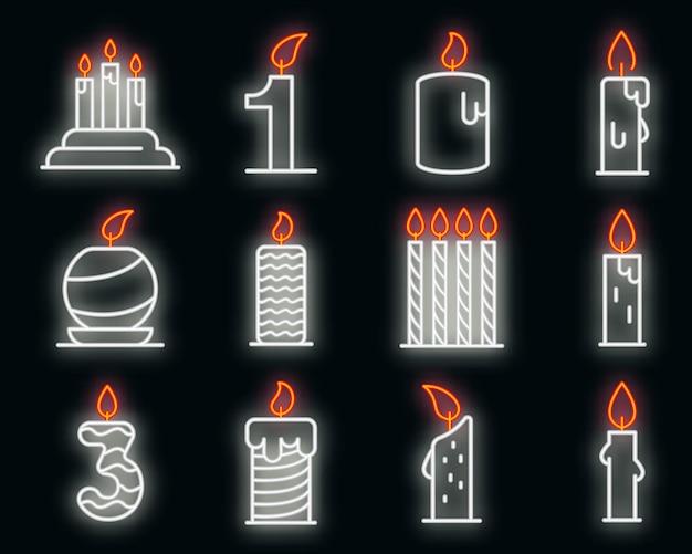 Conjunto de ícones de velas de aniversário. conjunto de contorno de ícones vetoriais de velas de aniversário neoncolor em preto