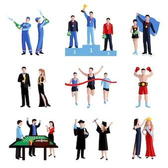 Conjunto de ícones de vencedor com educação de esporte e artes