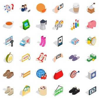 Conjunto de ícones de venda de mulher, estilo isométrico