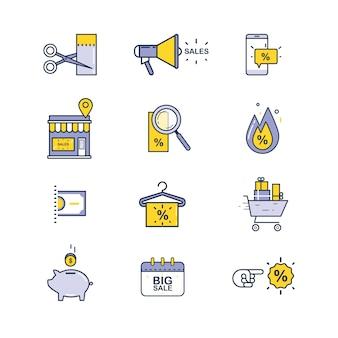 Conjunto de ícones de venda e compras
