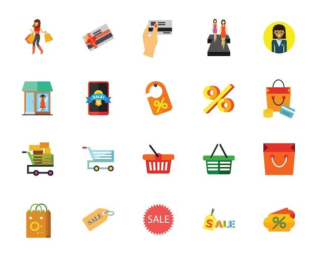 Conjunto de ícones de venda