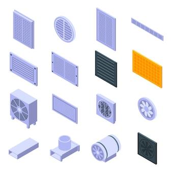 Conjunto de ícones de ventilação