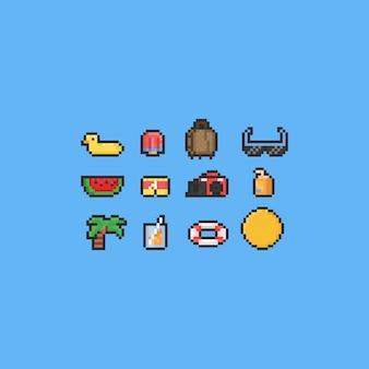 Conjunto de ícones de verão de desenho de pixel.