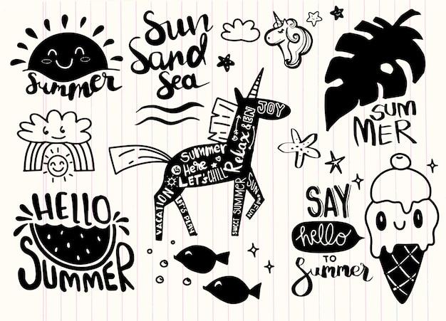 Conjunto de ícones de verão e elementos de design