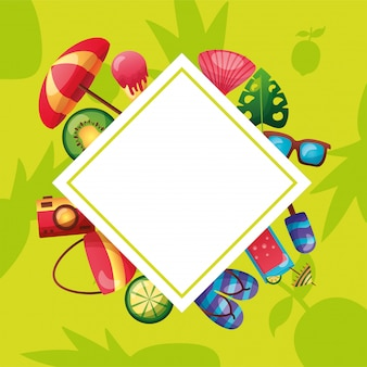 Conjunto de ícones de verão em torno de desenho vetorial de quadro