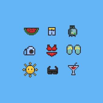 Conjunto de ícones de verão pixel.
