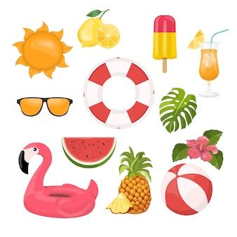 Conjunto de ícones de verão, sorvete, bebidas, folhas de palmeira, frutas e flamingo.