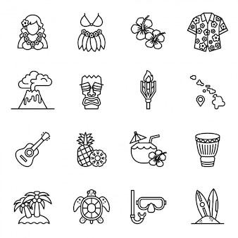 Conjunto de ícones de verão tropical havaí.