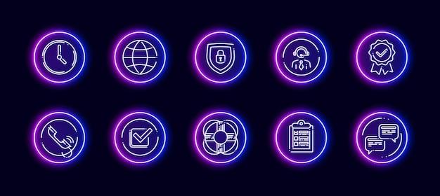 Conjunto de ícones de vetor 10 em 1 relacionado ao tema de discussão. ícones do vetor lineart em estilo de brilho de néon isolado no fundo.