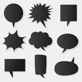 Conjunto de ícones de vetor de bolha de discurso, design plano preto