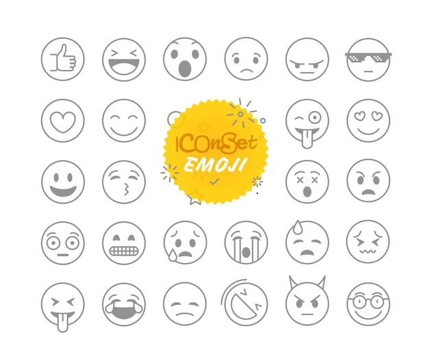 Conjunto de ícones de vetor de coleção de emojis de linha fina diferente