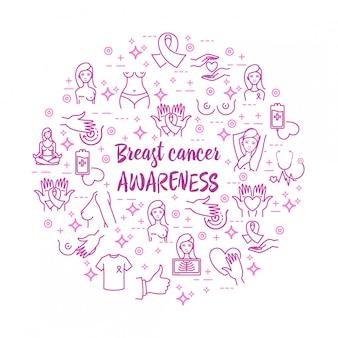 Conjunto de ícones de vetor de conscientização de câncer de mama