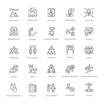 Conjunto de ícones de vetor de contorno de recursos humanos