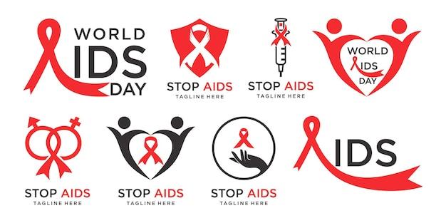 Conjunto de ícones de vetor de design de logotipo aids conjunto de sinais de parada fitas vermelhas dia mundial, 1 ° de dezembro