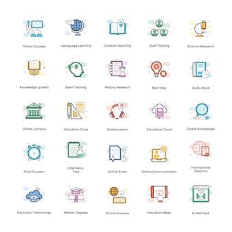 Conjunto de ícones de vetor de elearning
