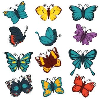 Conjunto de ícones de vetor de elemento de design de decoração de tipos de borboletas