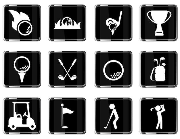 Conjunto de ícones de vetor de golfe simplesmente