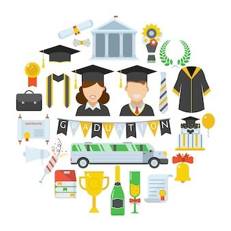 Conjunto de ícones de vetor de graduação de elementos de cerimônia de celebração de estudante em forma de círculo.