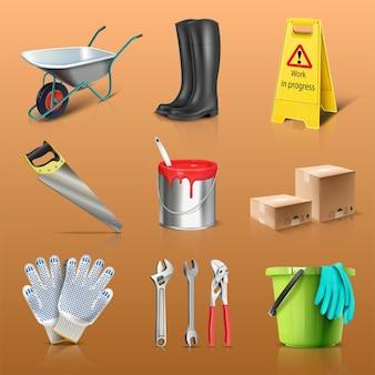Conjunto de ícones de vetor de obras de construção botas balde de tinta caixas de luvas
