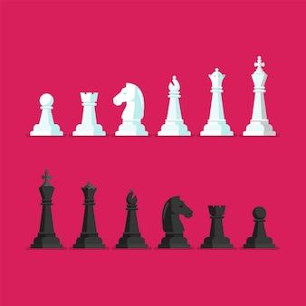 Conjunto de ícones de vetor de peça de xadrez preto e branco