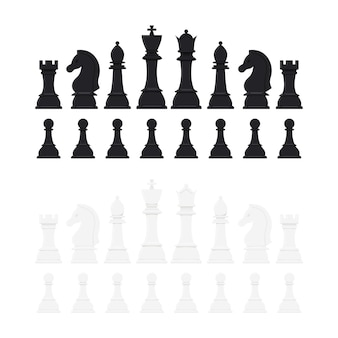 Conjunto de ícones de vetor de peças de xadrez isolado no fundo branco