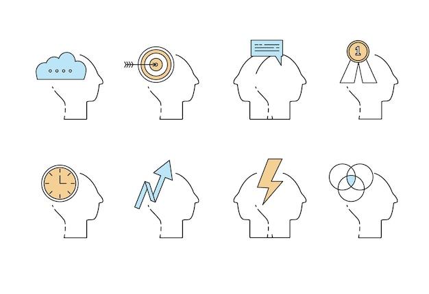 Conjunto de ícones de vetor de pensamento de mente de cabeça de homem - negócios, dinheiro, conexão, objetivos, motivação